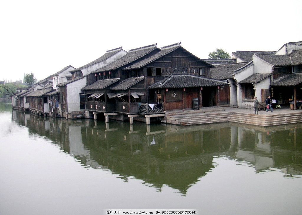 江南 水乡 小桥 流水 瓦房 亭台楼阁 建筑 小船 走进江南 自然风景