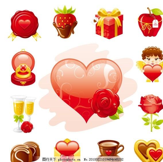 爱情主题图标矢量素材 情人节 爱情 徽章 草莓 巧克力 礼物 苹果 标签