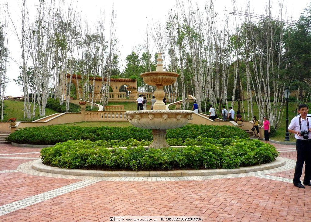 欧式别墅景观小品 喷泉 回廊图片