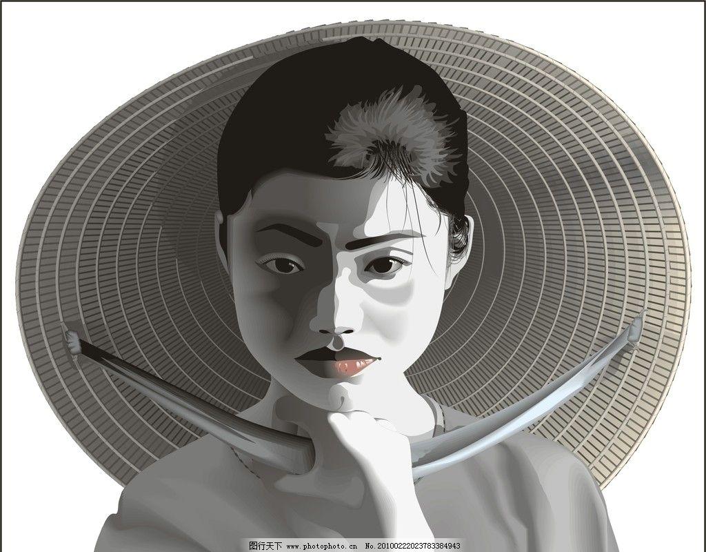 黑白人物(女性) 黑白人物素材 视觉性背景图 广告设计 海报设计 矢量