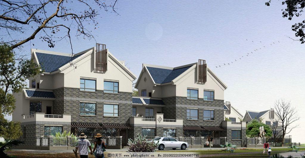 富裕型农村 豪华别墅 建筑 蓝天 树人 窗户 阳台 玻璃 植物