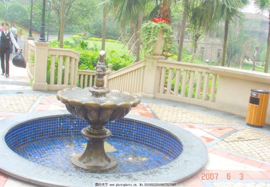 欧式喷泉 别墅花园 房地产 建筑园林 欧式园林 摄影 园林建筑