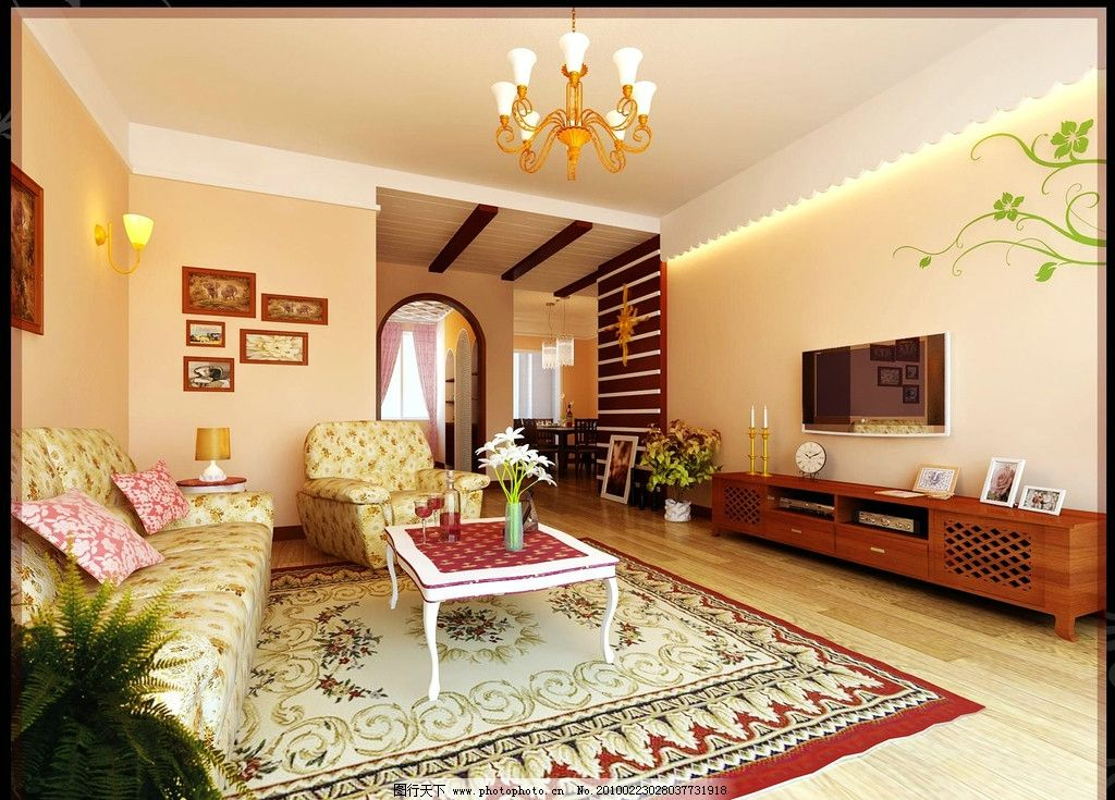 客厅效果图 室内设计 室内装饰 客厅布置 内墙 天花 地板 沙发