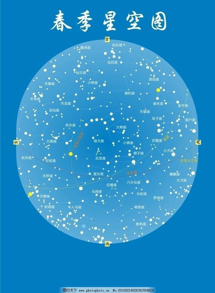 春季星空图 四季 春季 星空 矢量 星系 星座 其他 生活百科 cdr