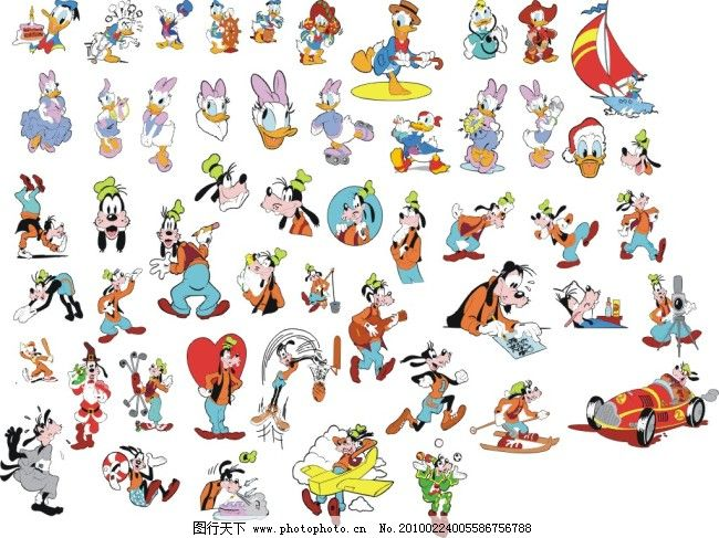 欢乐 米老鼠 唐老鸭 运动 迪斯尼大全 米老鼠 唐老鸭 运动 欢乐 矢量