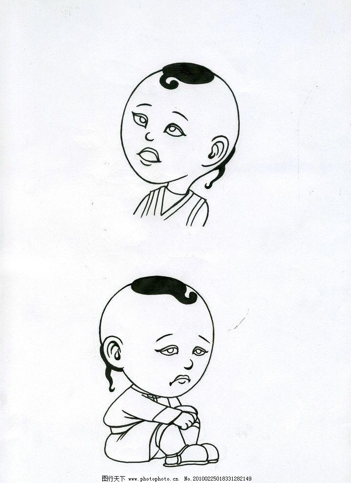 素描小孩表情 动漫人物 动漫动画 设计 250dpi jpg