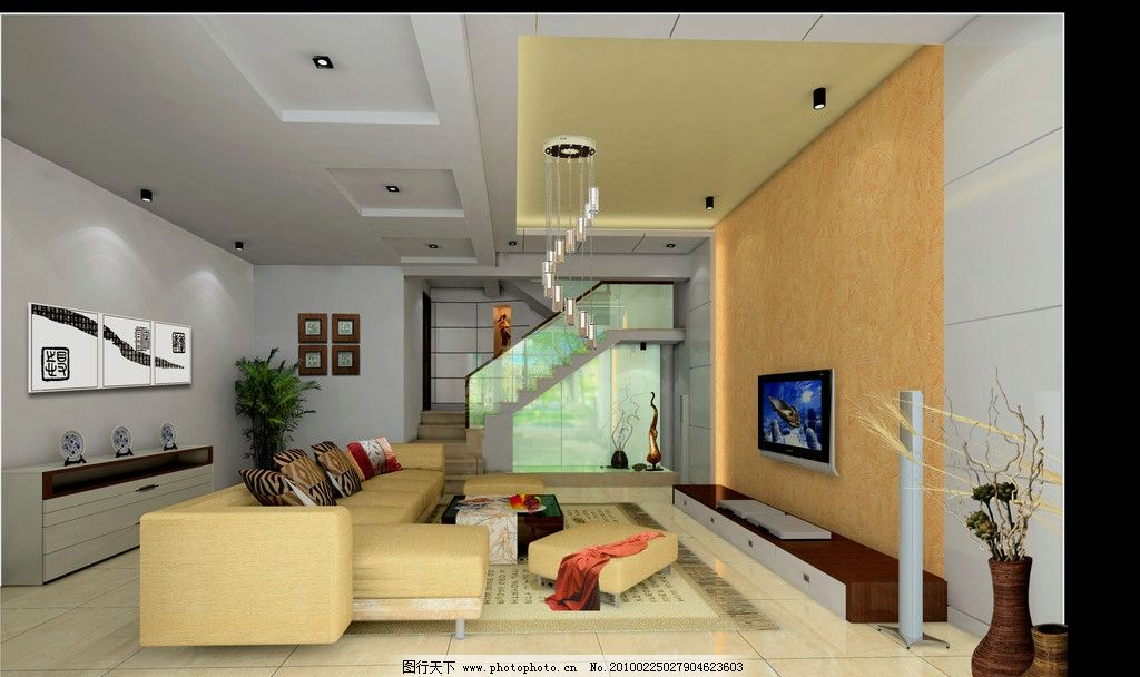 别墅客厅设计效果图 楼梯景观设计 别墅客厅吊顶 电视背景墙 简约客厅