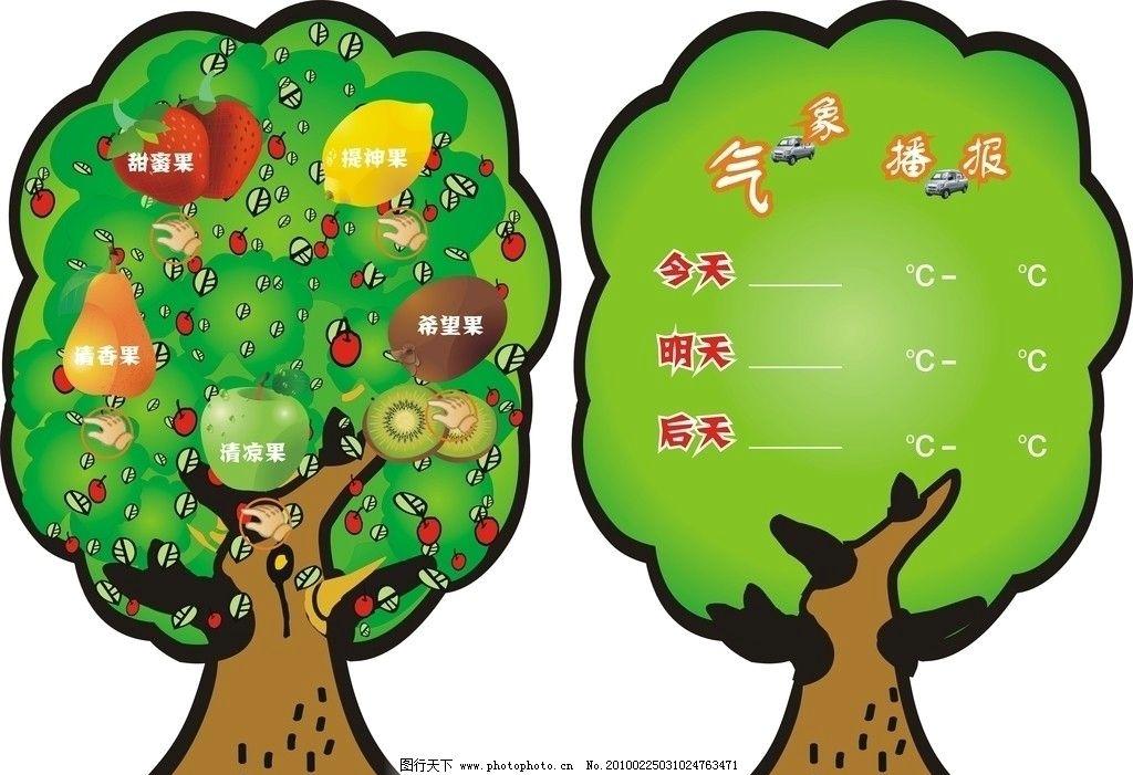 果树 矢量图 气象报 绿色 其他设计 广告设计