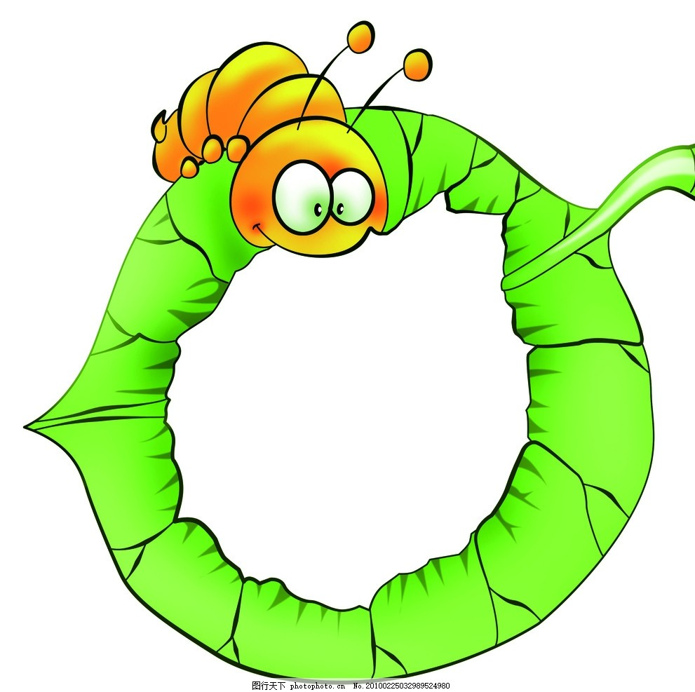 毛毛虫边框 幼儿园 树叶 花边 源文件