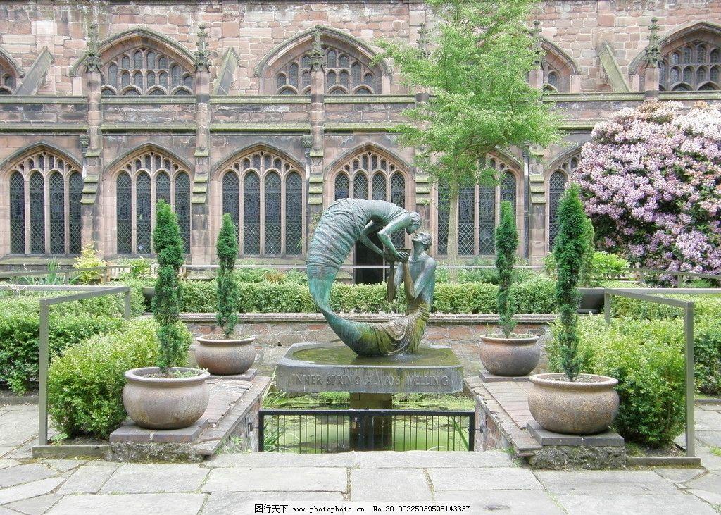 花园雕塑景观 庭院 水池 水景 别墅 城堡 国外 室外 园林 景观