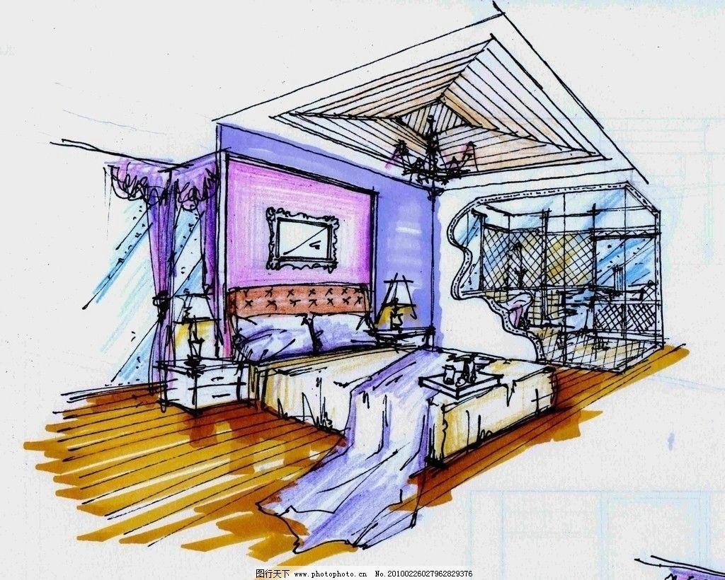 室内手绘线稿房间