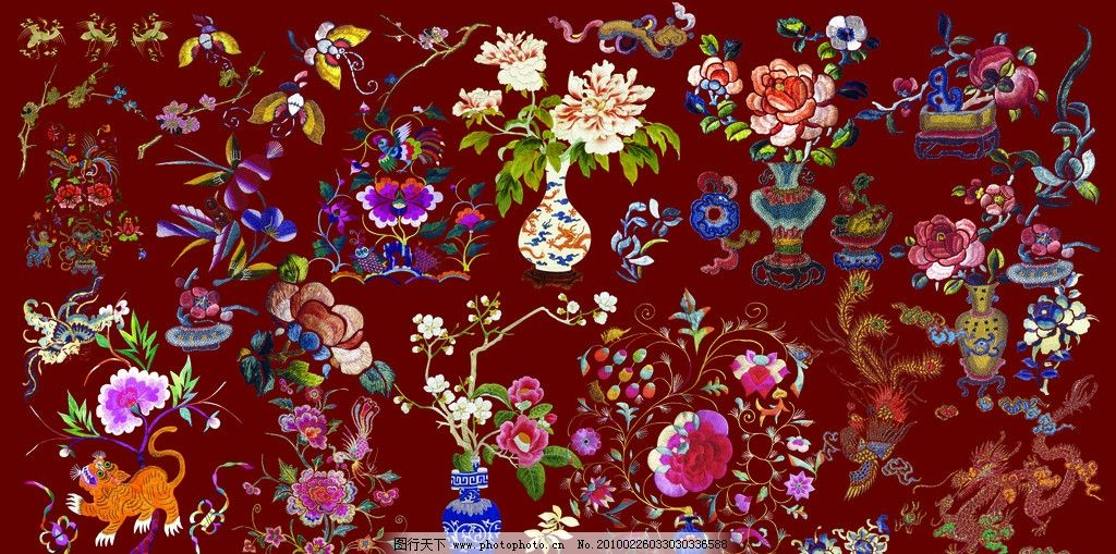 刺绣图案 图案 花卉图案 动物图案 龙 虎 凤 鹤 蝴蝶 云彩 花纹 花形