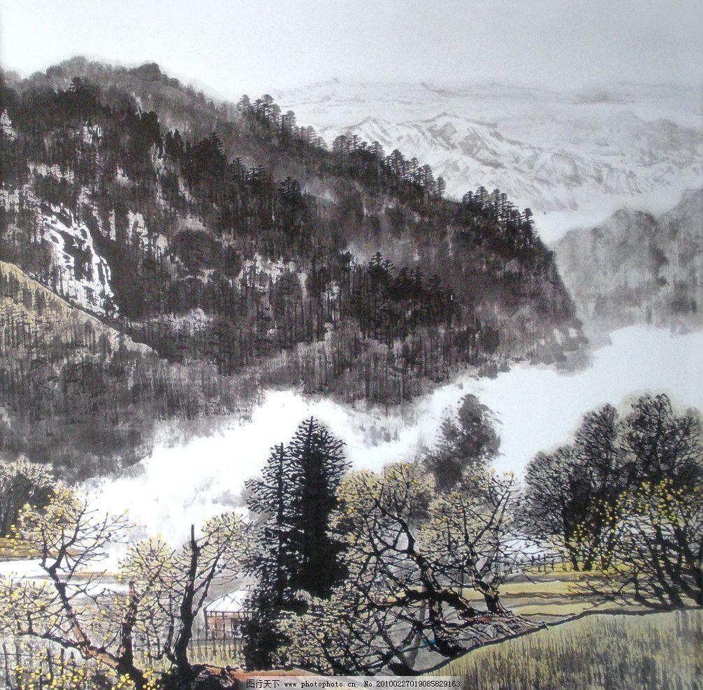 国画图片 国画 树林 山 风景画 装饰画 文化艺术 绘画书法 国画系列