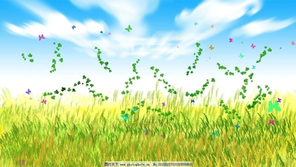 蓝天白云春天风景图片