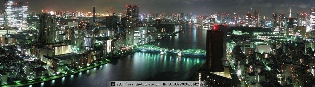 都市 城市夜景/夜幕中的日本东京宽幅大图图片