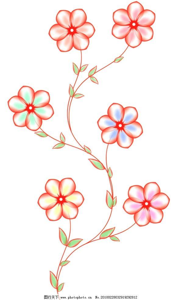 透明花 桃花 上色透明花 花朵 梦幻花朵 六瓣花 源文件