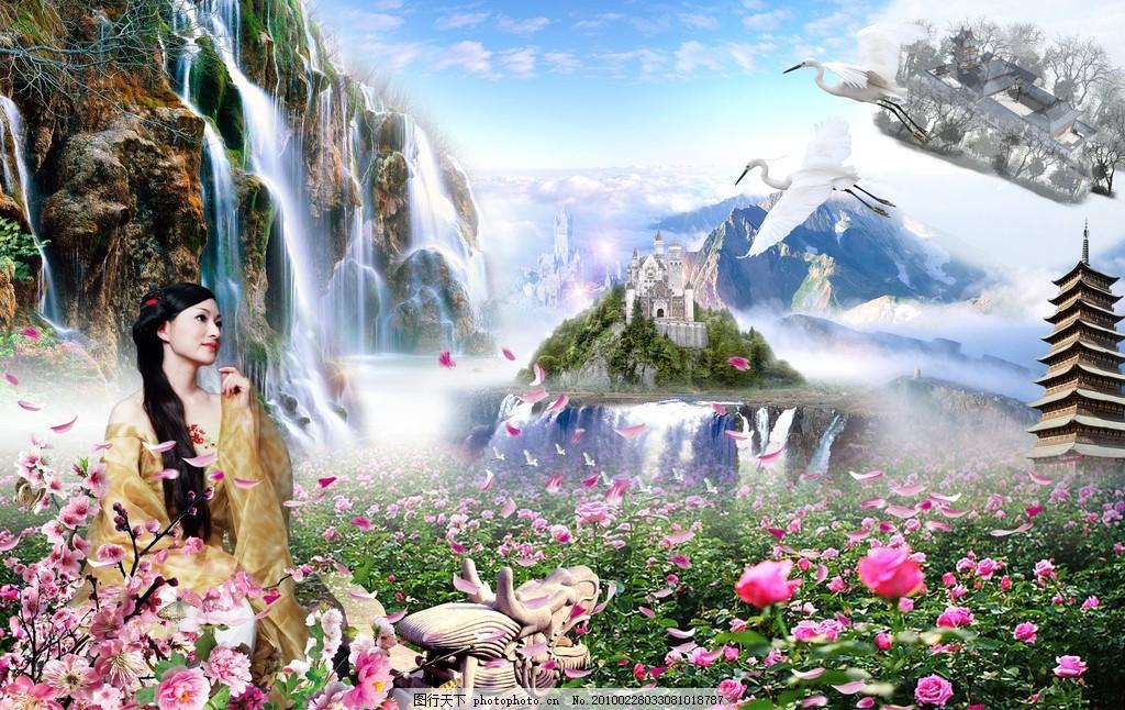 风景画 丽人 古装美人 高山流水 山水 清新 蝶舞 花 花香 花枝