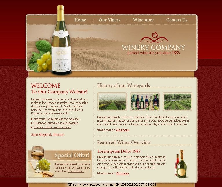 葡萄园 酒杯 酒瓶 红酒 葡萄叶 海报设计 广告设计模板 欧美网页模板