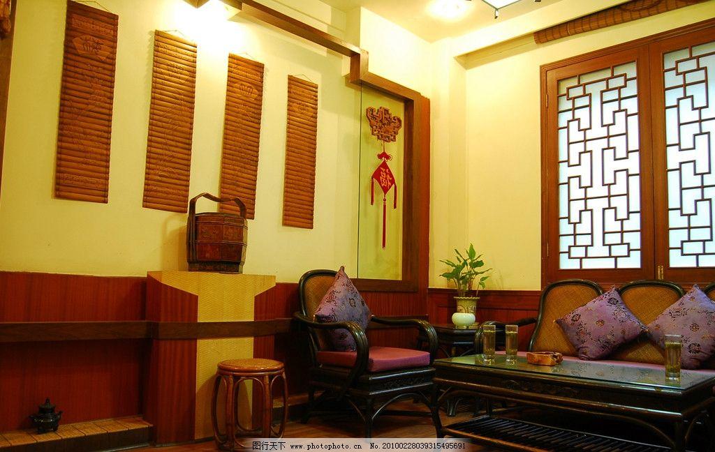 室内设计 室内 酒店布置      客厅一角 椅子 复古风格 桌椅 绿叶