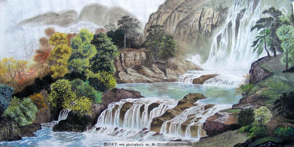 银河泻玉 国画 绘画 工笔 写实 山水 树木 梦回江南 传统文化 文化