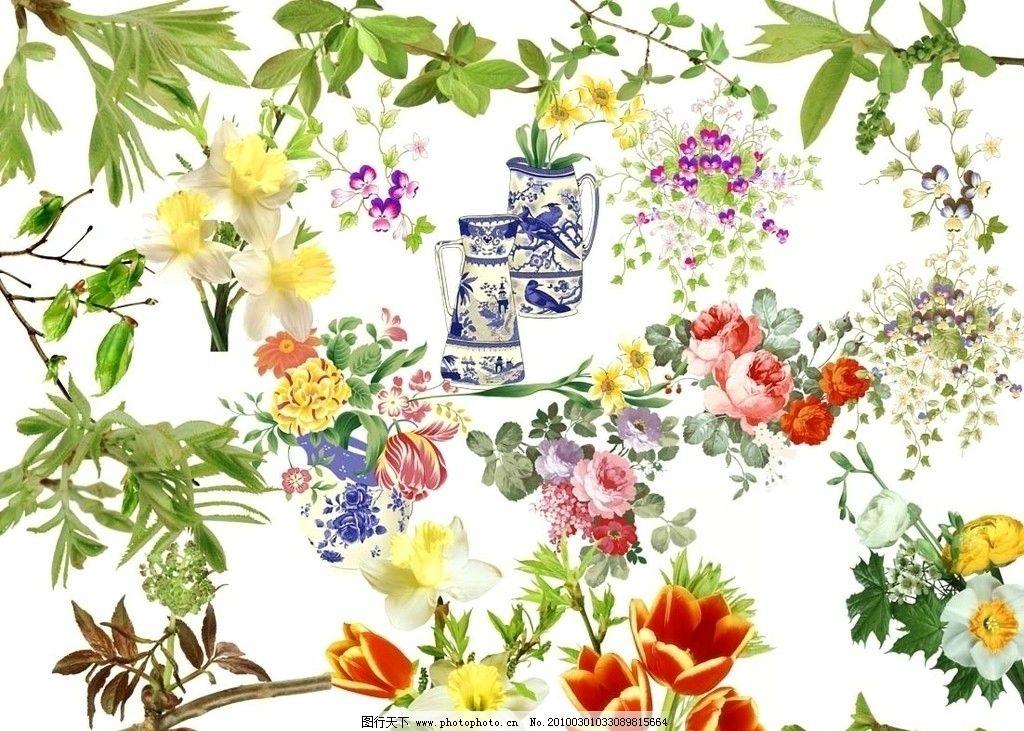 树叶树枝花朵分层素材图片