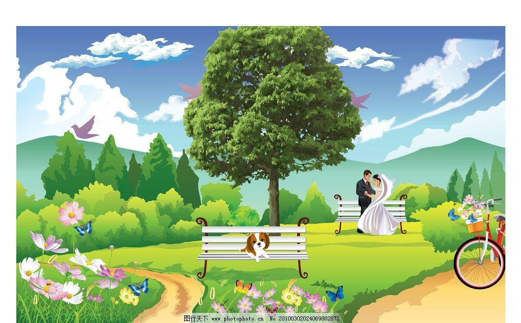 自然景观 自然风光  大树风景 树 大树 风景 晴空 云 山 远山 小鸟