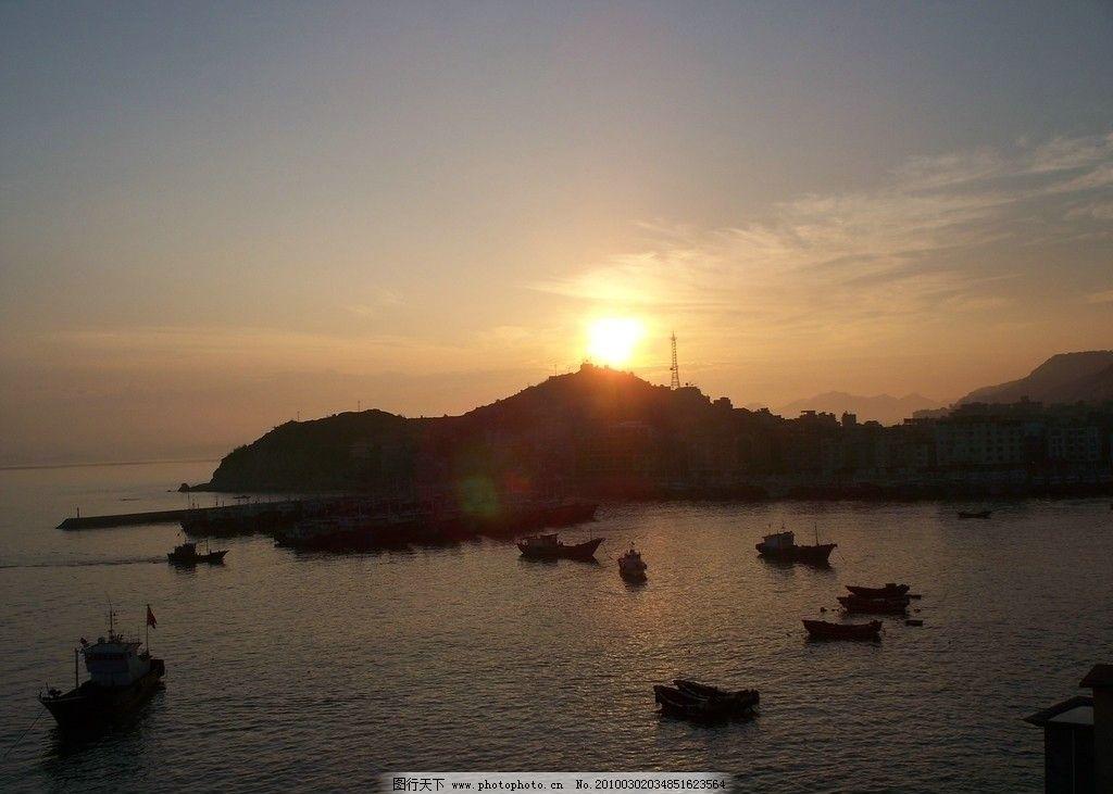 夕阳下的海湾 渔港 三沙 宁静 自然风景 自然景观 摄影