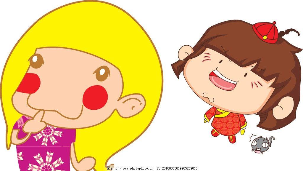 可爱娃娃 卡通 人物 儿童 小猫 女孩 标志 企业logo标志 标识标志图标