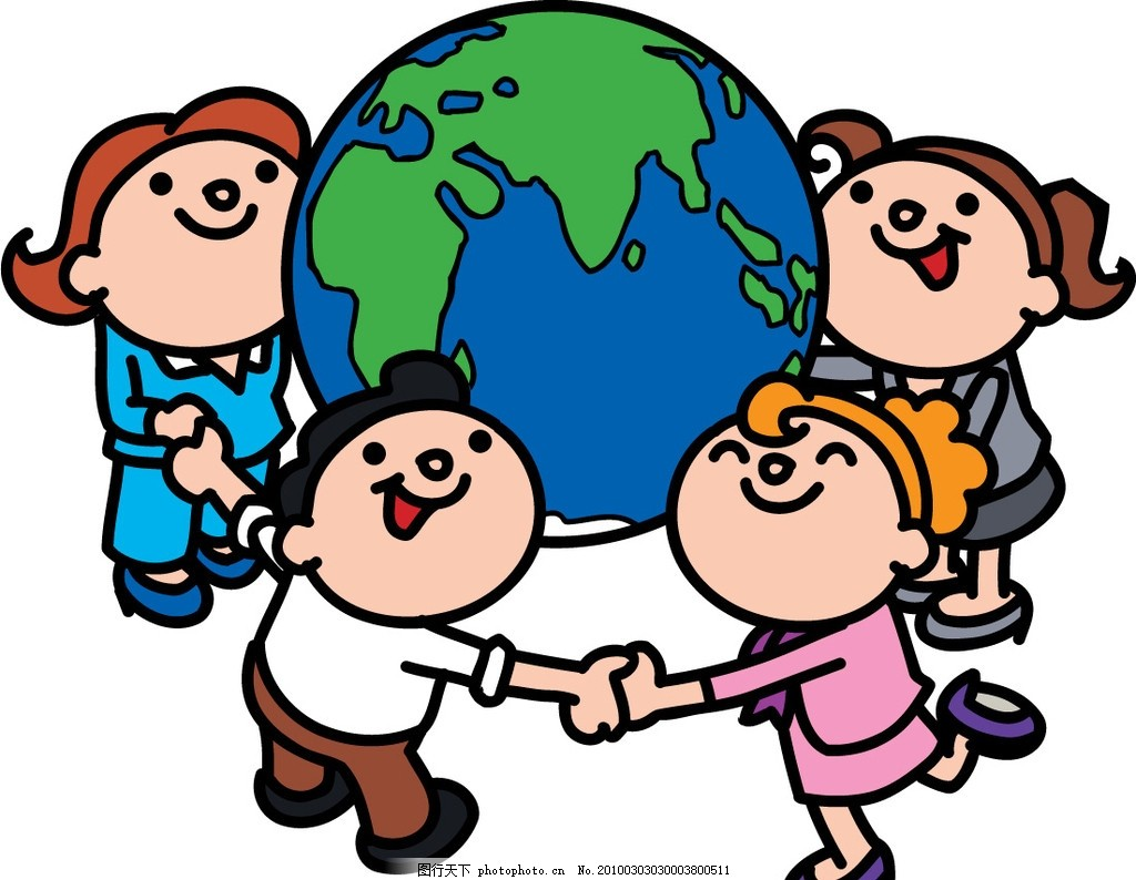 爱护地球 卡通矢量人物 儿童 手拉手 矢量图案