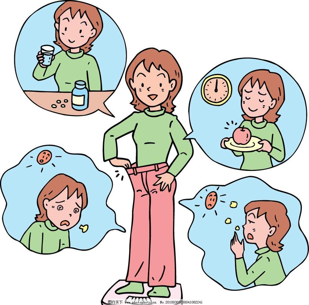 减肥 矢量卡通人物 一日三餐 矢量图案 海报设计 广告设计
