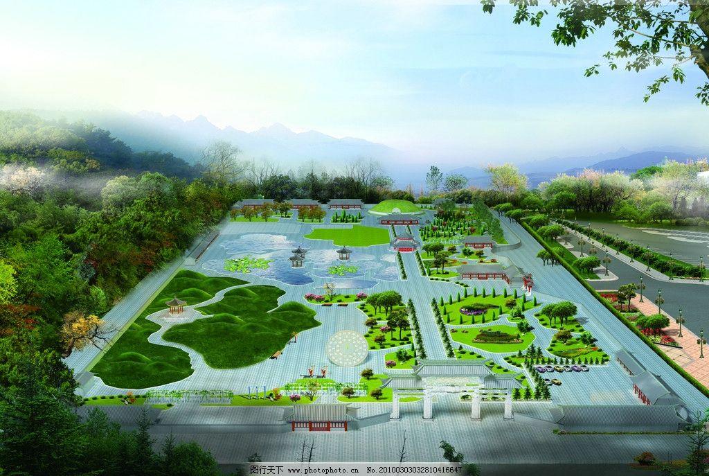 园林景观规划效果图 古建 河流 公园 树木 花草 亭子 石头 psd分层