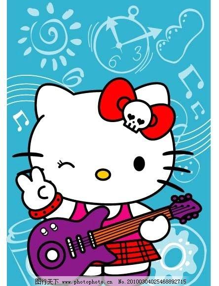 凯蒂猫吉他 白猫 音乐 可爱 日本卡通 皮皮蛙 等可爱卡通 其他生物