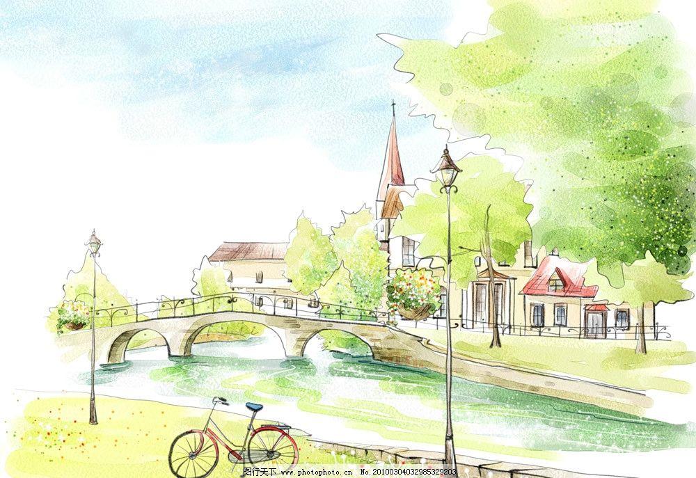 水彩风景 水彩 风景 插画 自行车 小桥建筑 psd 背景素材 psd分层素材