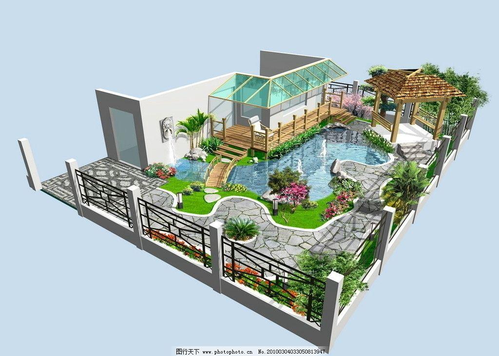 效果图 庭院        围栏 围墙      铁艺栏杆 木栏杆 木阶梯 水池