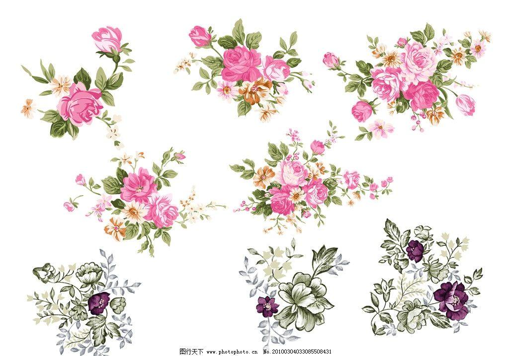 花纹 典型花纹 花角 花边 矢量素材 源文件