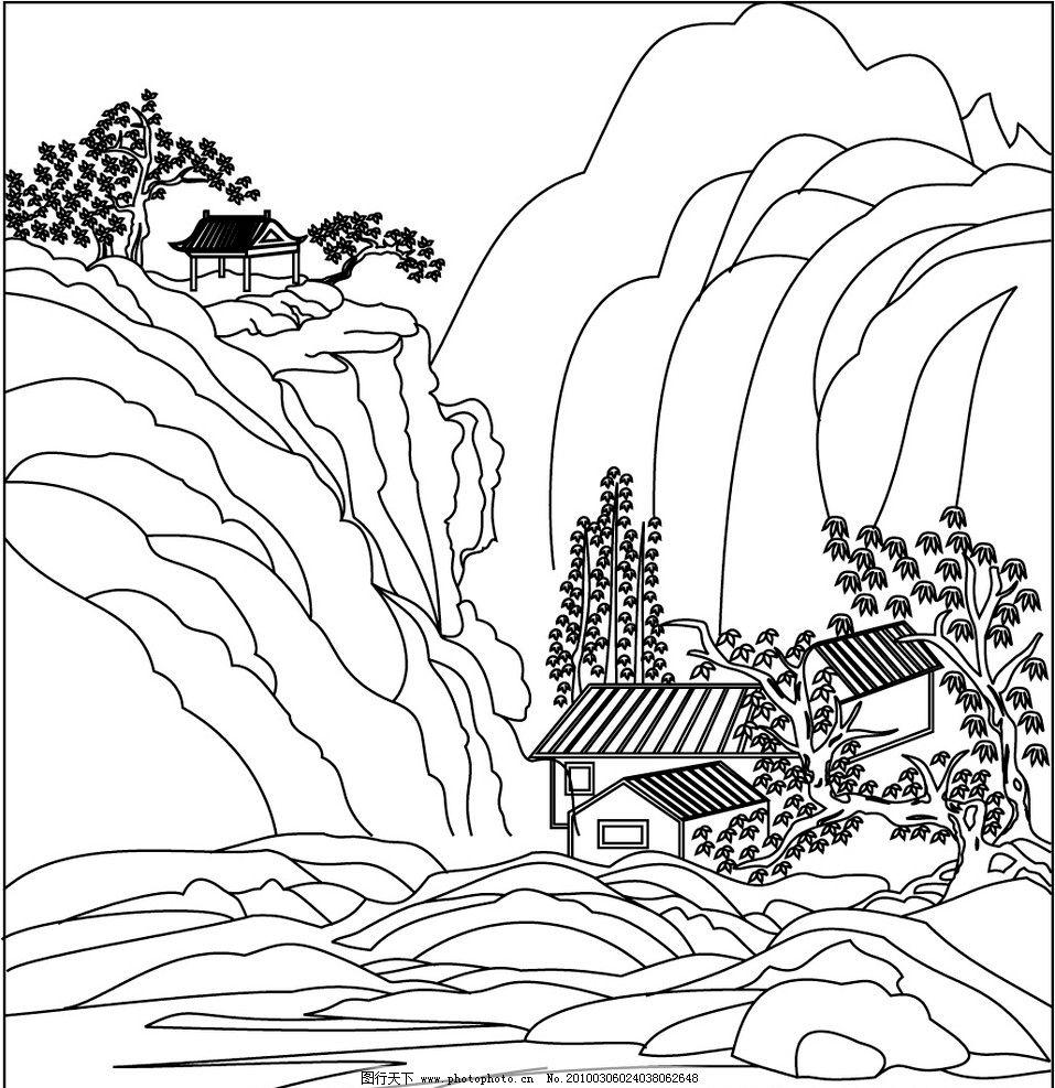树木风景线条简笔画图片大全