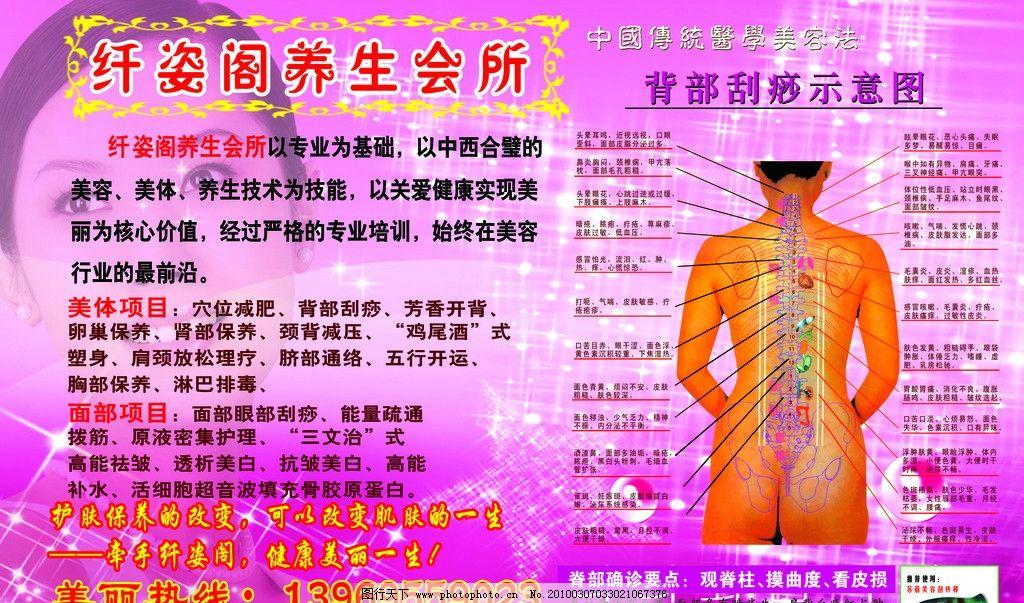养生阁 养生阁素材 中国传统医学美容法 背部刮痧示意图 粉色背景