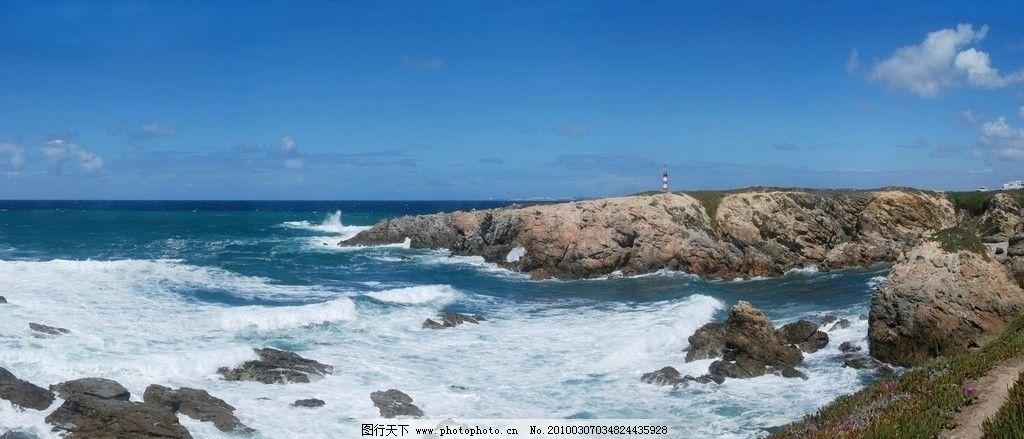 蓝天 白云 海浪 海面 礁石图片