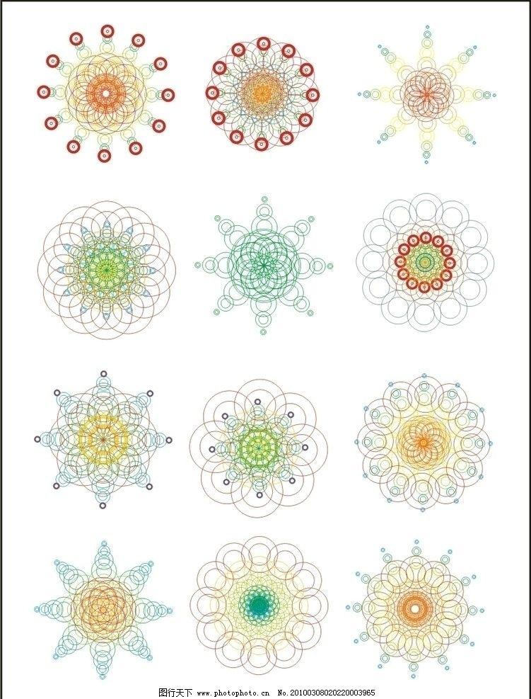 圆形组成的线条花纹图片