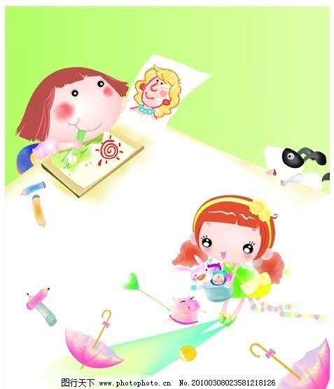 卡通 人物 可爱卡通 小孩 女孩 画画 雨伞 礼物 书包 小狗 背景 铅笔