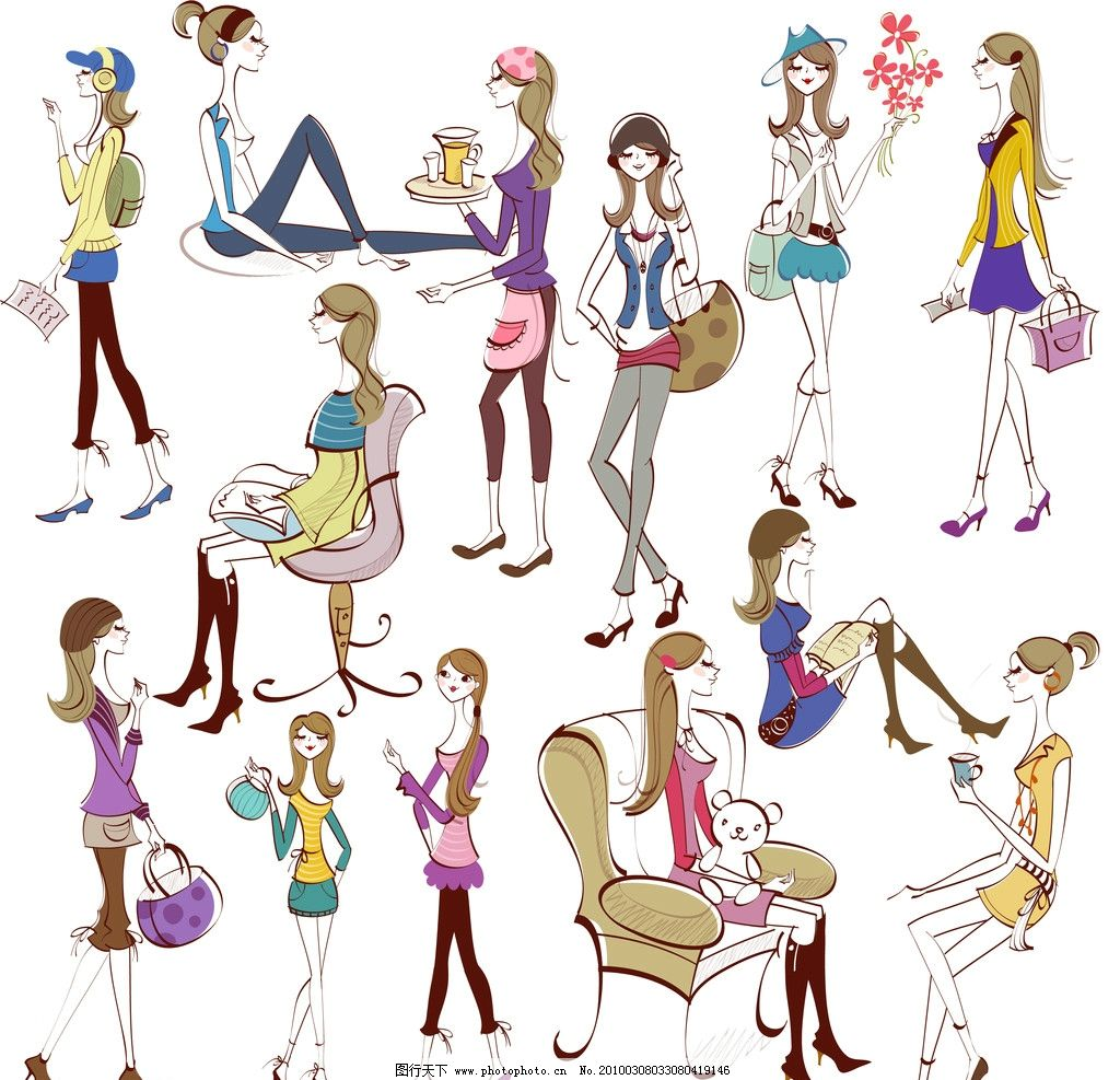 卡通女孩线条