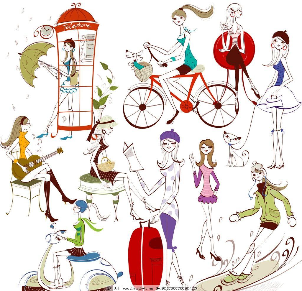 卡通线条风格可爱时尚女孩图片