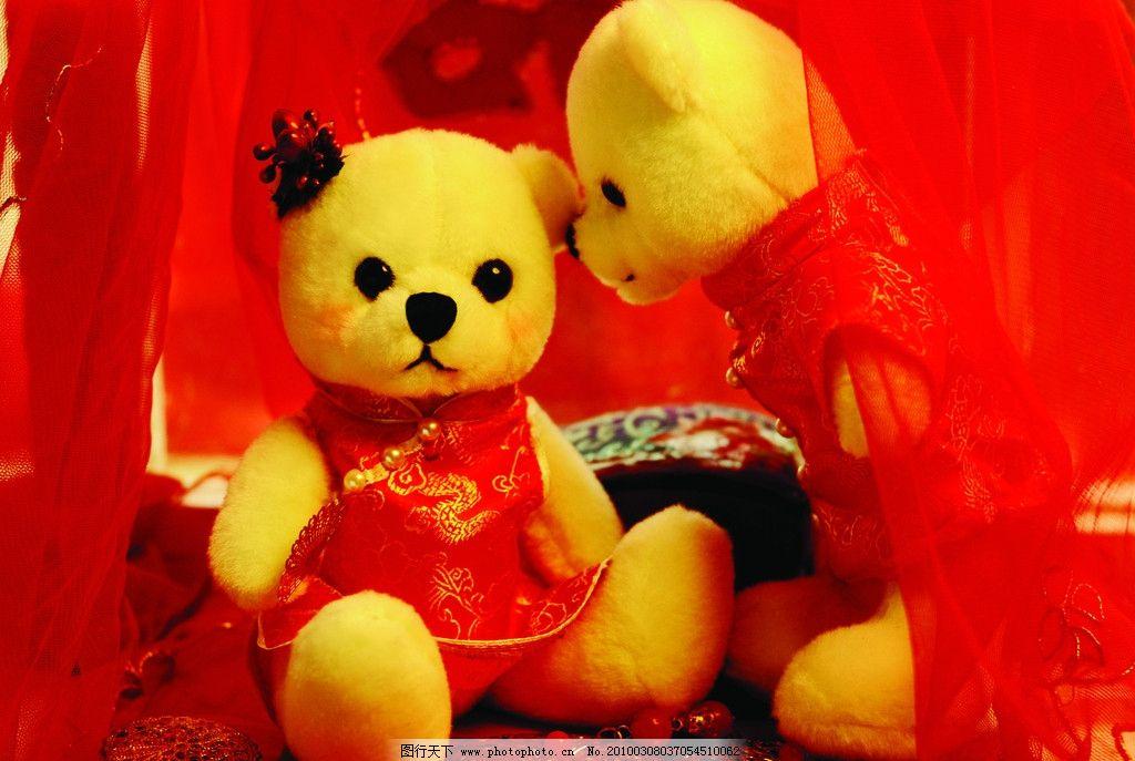曼尼熊 玩具熊 可爱 红色 情侣 新婚 红纱帐 公仔 婚纱 生活素材