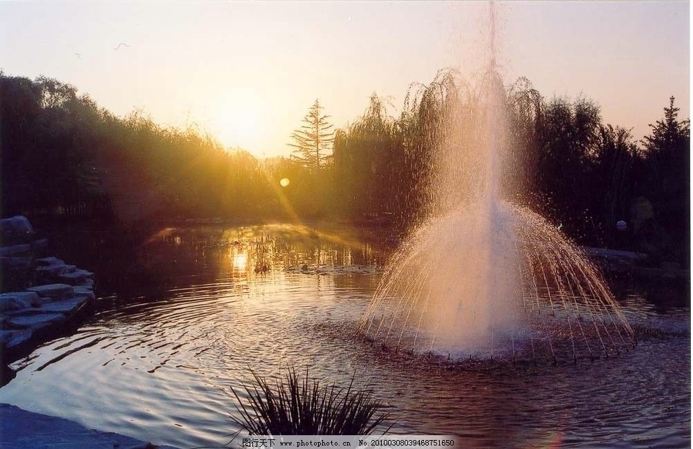 喷水池 晨 建筑 建筑摄影 建筑园林 摄影 200dpi jpg