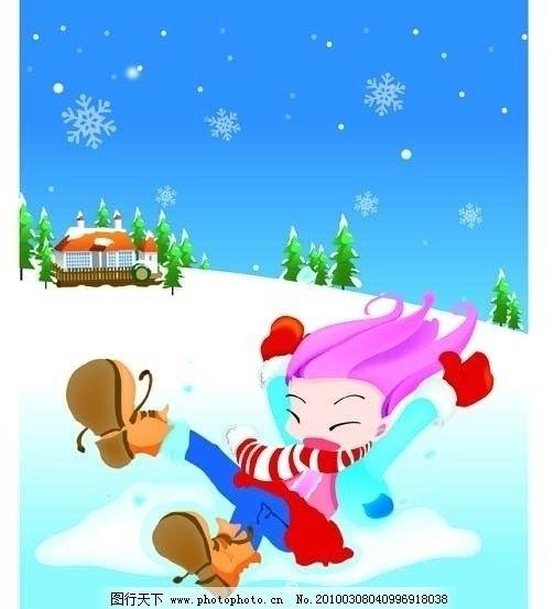 卡通 人物 可爱卡通 小孩 玩耍 雪地 风景 滑雪 女孩 树 童年 雪花
