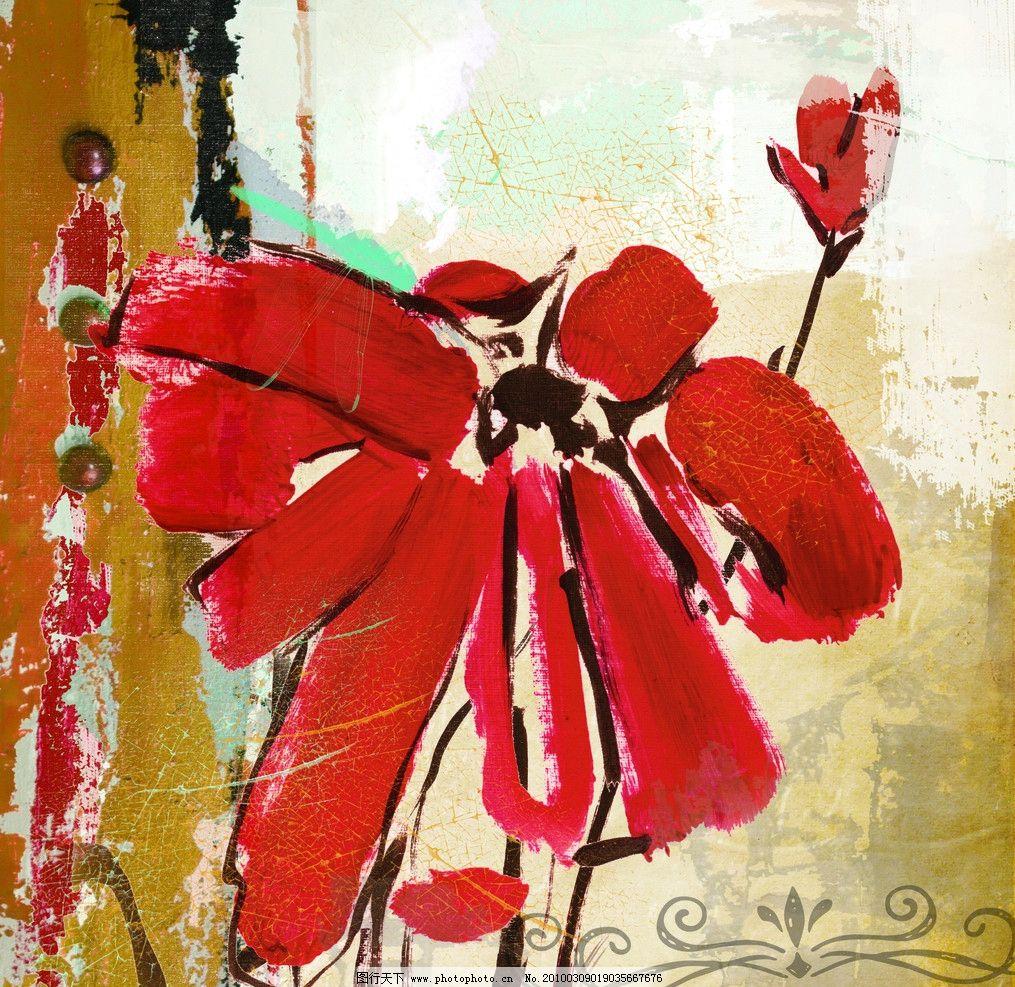 手绘花 花 红色 手绘 无框画