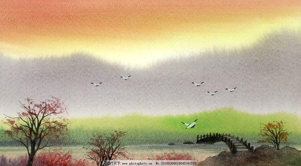 手绘风景图片_绘画书法