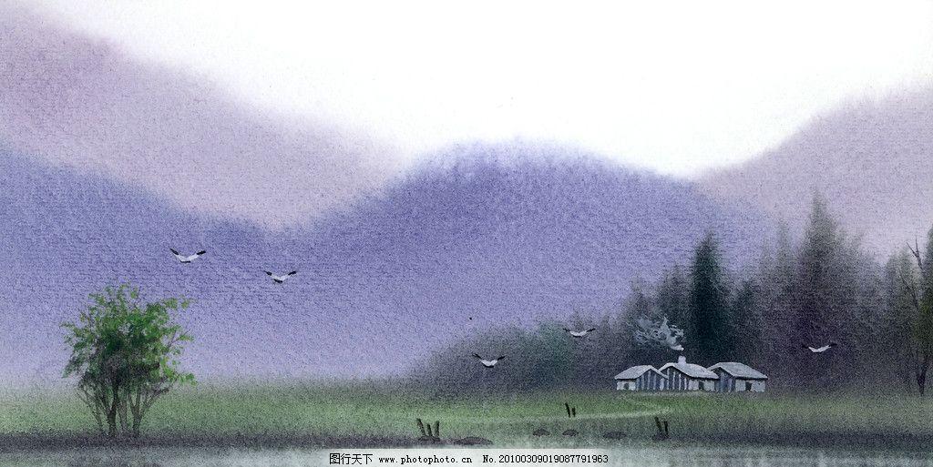 手绘风景 手绘 水彩 风景 山峰 山峦 小树 湖水 渔船 飞鸟 绘画书法