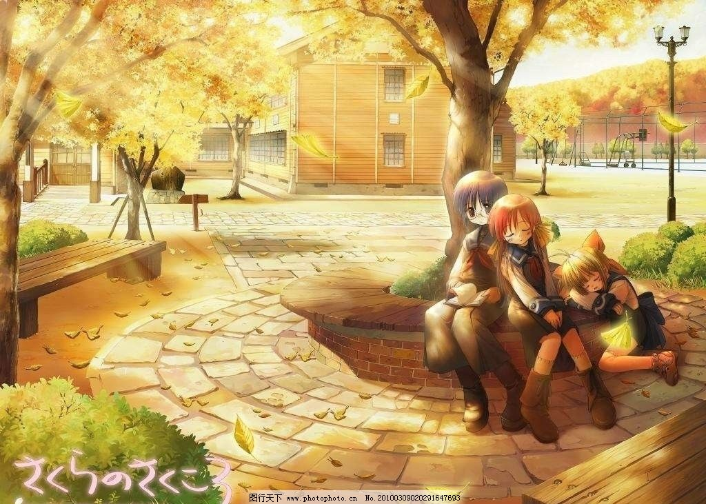 日本动漫 校园 操场 枫叶 枫树 石阶 女孩 动漫 背景底纹 底纹边框