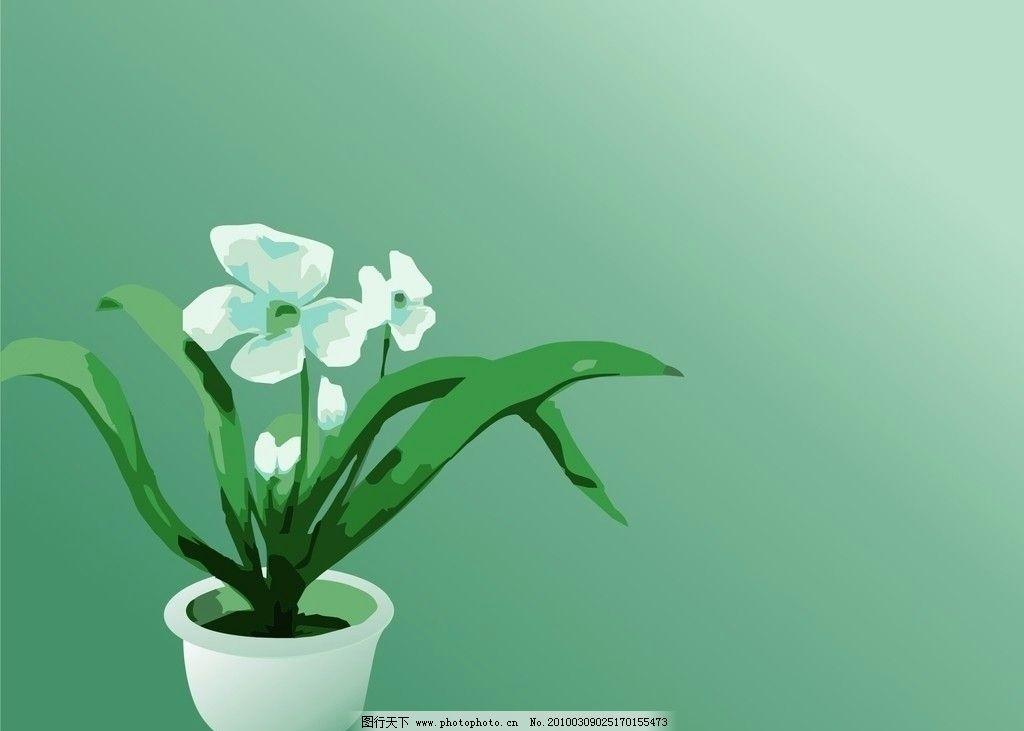 抽象植物花草油画矢量图图片